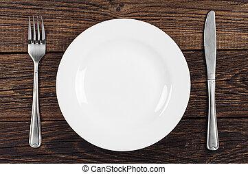vazio, prato, garfo, faca