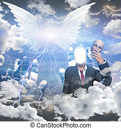 Obscured winged being and man reveals himself as a being of light