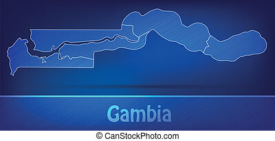 Map of Gambia with borders as scrible