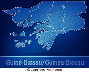 Map of Guinea Bissau with borders as scrible