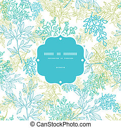Scattered blue green branches frame seamless pattern background