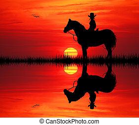 girl on horse - illustration of girl on horse