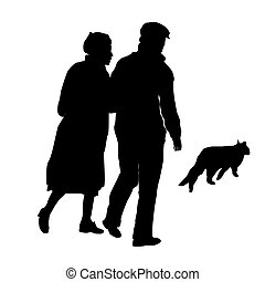 elderly couple with a cat