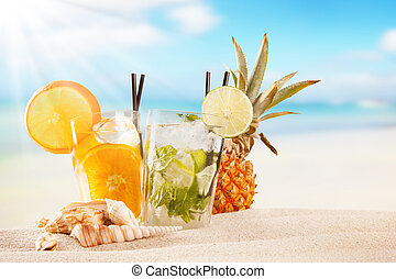 Summer drinks with blur beach on background - Exotic summer...
