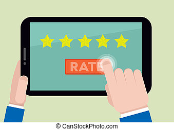 tablet rating five stars - minimalistic illustration of...