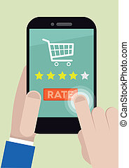 Phone four star rating - minimalistic illustration of a...
