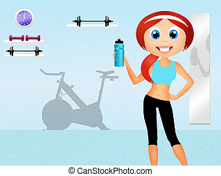 spinning class - illustration of spinning class