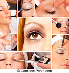 Photo Collage of a real Make up and beauty session with a...
