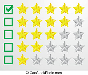five star rating - detailed illustration of a five star...