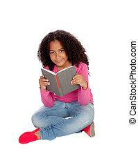 Little student girl reading