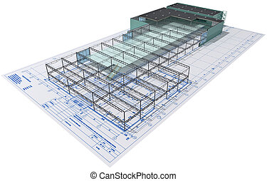 Construction. - Isometric view the skeleton of an industrial...