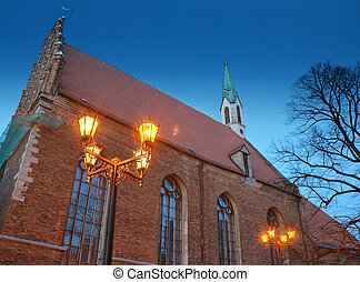 Church. - Night view of St. John\'s Church, Riga, Latvia.