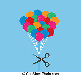 Balloons Scissor Cut - Balloon string about to be cut by...