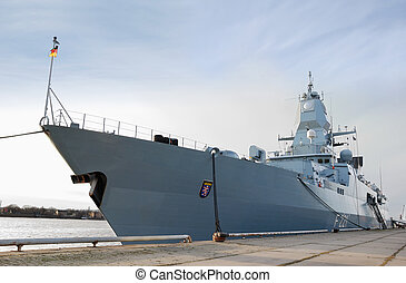 Frigate - The German frigate F 221 Hessen in Riga, Latvia...