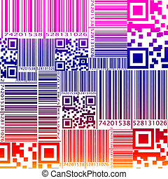 Colorfu seamless pattern in barcode style - Colorful...