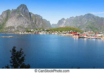 Picturesque fishing town of Reine by the fjord on Lofoten...