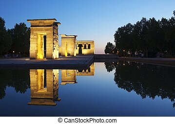 Debod Egyptian Temple, located in Madrid, Spain. This temple...