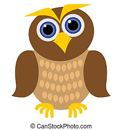 clever owl - clever brown owl with blue eyes, yellow beak...