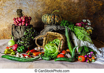 still life Vegetables, Herbs and Fruit - still life...
