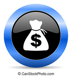 money blue glossy icon - blue circle glossy web icon