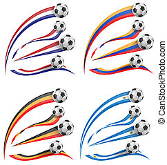 flag set whit soccer ball  isolated