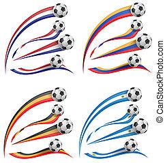 flag set whit soccer ball  isolated