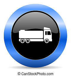 truck blue glossy icon - blue circle glossy web icon