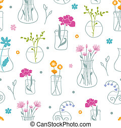 Fresh flowers in vases seamless pattern background - vector...