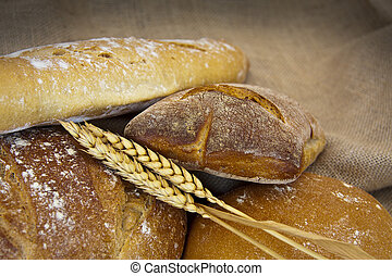 bread - artisan baked bread isolated on white background