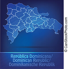 Map of Dominican Republic with borders as scrible