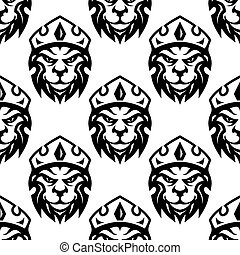 Seamless pattern of a crowned royal lion - Seamless black...