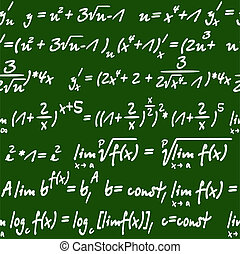 Seamless pattern of mathematical equations - Seamless green...