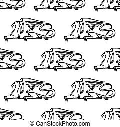Gryphon seamless pattern - Heraldic seamless pattern with...