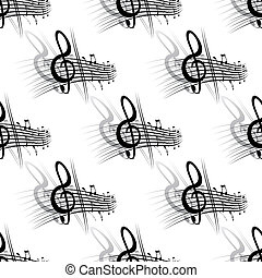 Seamless background music pattern with a section of a score...