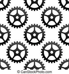 Seamless pattern of industrial gears or cog wheels