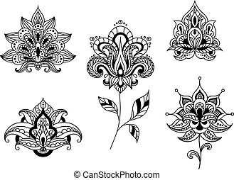 Black and white floral motifs of persian paisleys - Ornate...