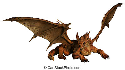 Large Red Dragon Prowling - Large red dragon prowling, 3d...