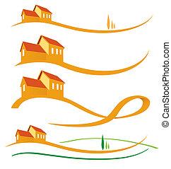 LANDSCAPE HOUSE SET ON WHITE BACKGROUND