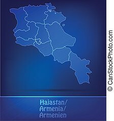 Map of Armenia with borders as scrible