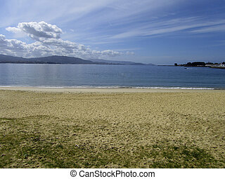 beach - Beach landscape of Cangas in the estuary of Vigo in...