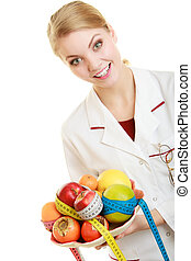 Doctor dietitian recommending healthy food Diet - Woman in...