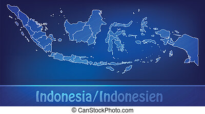 Map of Indonesia with borders as scrible