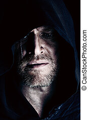 frightening - Portrait of a courageous warrior wanderer in a...