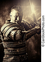 man conqueror - Portrait of a courageous ancient warrior in...