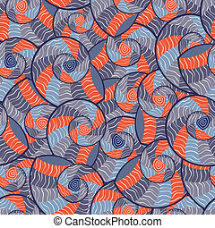 Abstract Doodle Seamless Pattern with Seashells