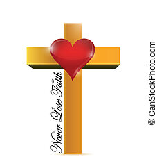 religious cross never lose faith message illustration design...