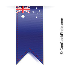 australia flag banner illustration design over a white...