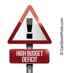 high budget deficit warning sign illustration design over a...