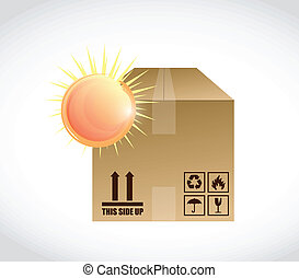 box and bright sun illustration design over a white...