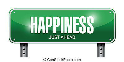 happiness just ahead street sign illustration